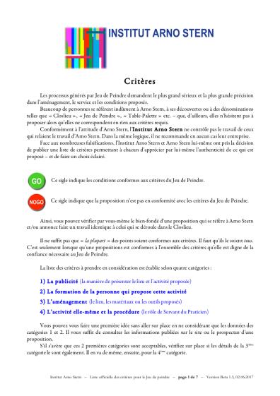 Critères Officiels Closlieu Institut Arno Stern